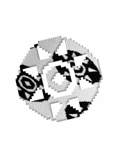 silueta de mandala sobre fondo de tejido de calcetin