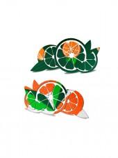 silueta de naranjas sobre tejido de calcetin