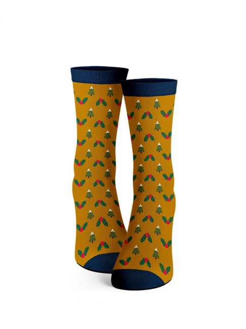 calcetines de arboles de navidad. calcetines naranjas.