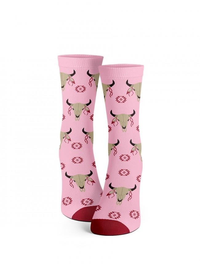 calavera de vaca rosa. calcetines exclusivos