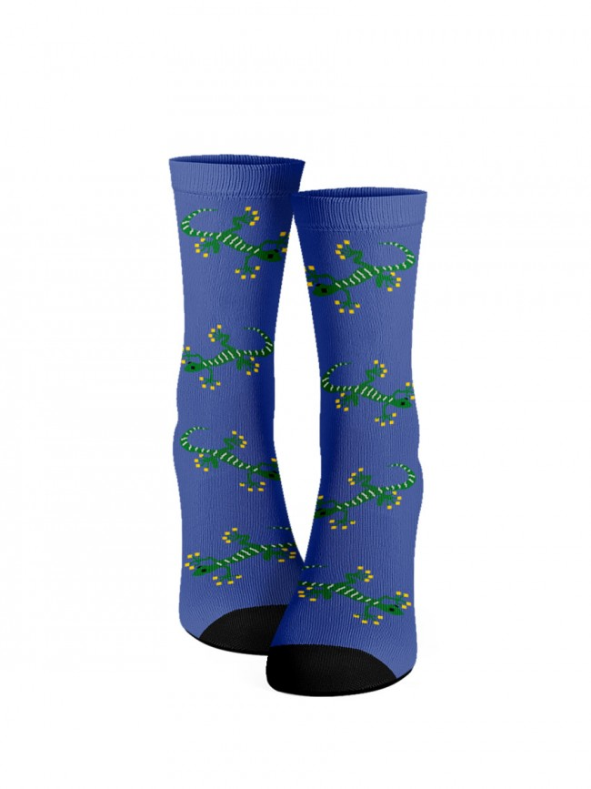 calcetines de lagartos azules