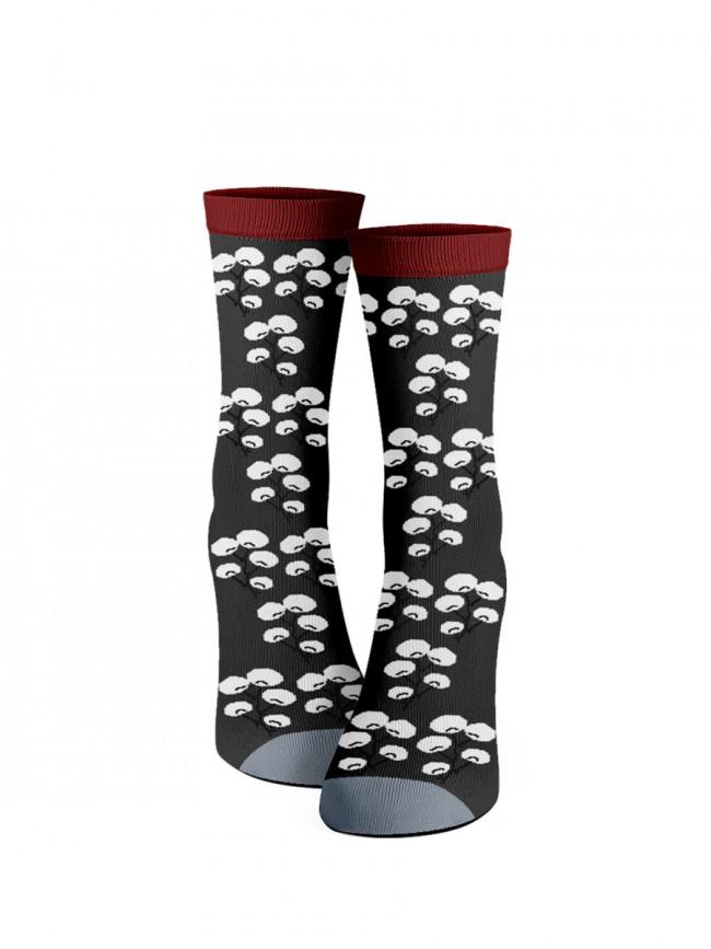 calcetines flor de cerezo grises frontal