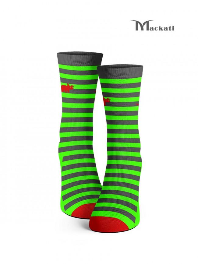 calcetines rayas gris y verde
