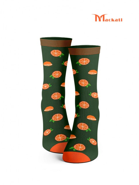 calcetines de naranjas. verde y naranja