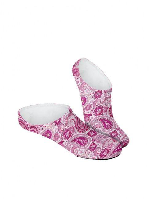 Calcetines invisibles de paisley rosa y blanco